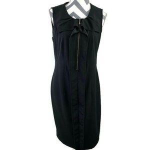 Tahari Ruffle Round Neck Front Zip Sheath Dress